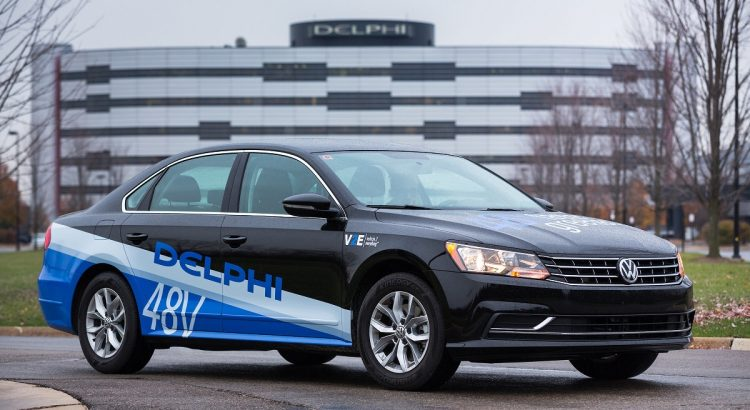 Delphi will unveil its second generation 48-volt mild hybrid at the 2017 Consumer Electronics Show in Las Vegas, Nevada. This gas-powered Volkswagen Passat follows a diesel-powered Honda Civic, first shown in May.  Both cars use a small lithium-ion battery to capture energy typically lost while braking, improving fuel efficiency and reducing emissions for significantly less cost than a full hybrid. (Photo by John F. Martin for Delphi)