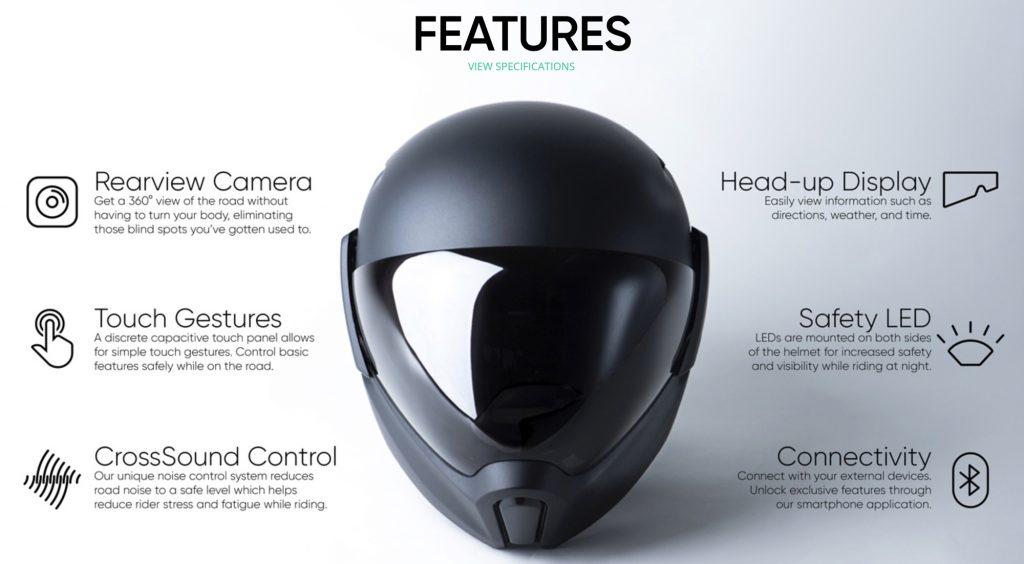 Motorradhelm mit Head-Up Display und 360° Kamera